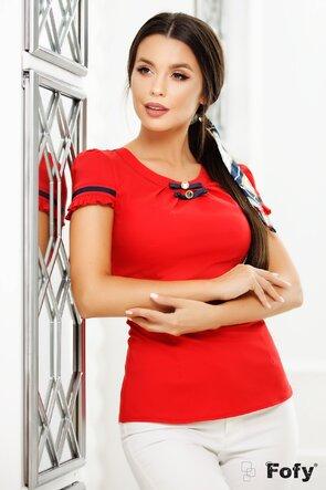Cămașă Fofy office rosie cu nasturi metalici și fundițe decorative