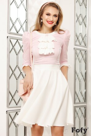 Camasa Fofy roz cu dungulite jabou si brosa cristale