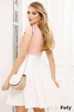 Camasa Fofy roz cu guler tunica aplicatii dantela si papion cu perla
