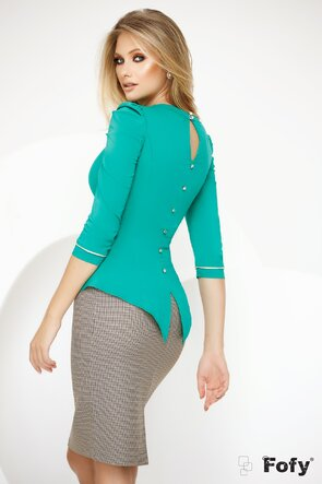Camasa Fofy verde cu pliuri frontale si peplum elegant
