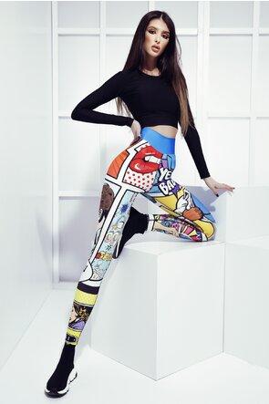 Colanti colorati lungi cu imprimeu Comicbook