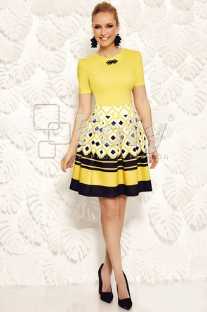 Fustă amplă galbenă cu imprimeu geometric