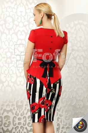 Fustă ecru cu dungi negre și flori roșii