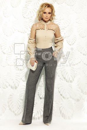 Pantalon din stofă gri cu fir auriu