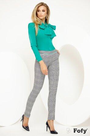 Pantalon Fofy in carouri cu inserție turquoise in talie
