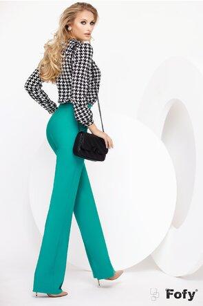 Pantalon Fofy evazat turquoise