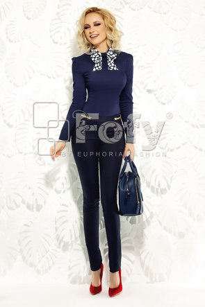 Pantalon office bleumarin cu talie medie