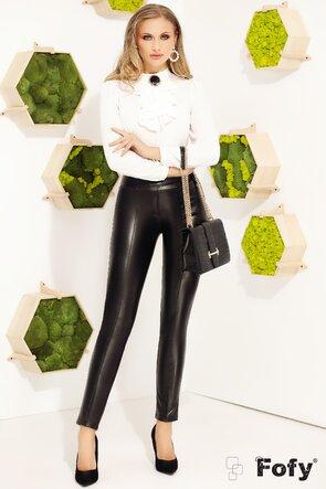 Pantaloni Fofy conici din piele ecologica
