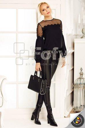 Pantaloni pană din material elastic și piele ecologică