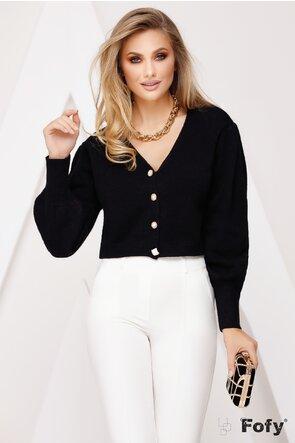 Pulover scurt negru stil jacheta cu nasturi diferiti