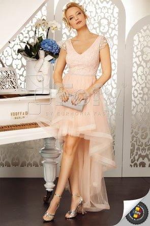 Rochie asimetrică elegantă din tulle și dantelă roz