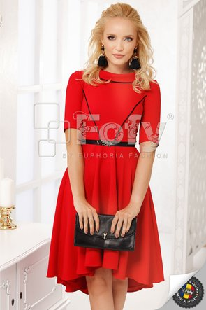Rochie asimetrică roșie cu guler rotund
