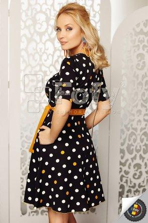 Rochie bleumarin cu buline ecru și galbene