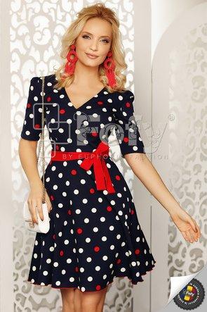 Rochie bleumarin cu buline ecru și roșii