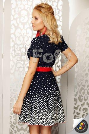 Rochie bleumarin cu buline și curea roșie
