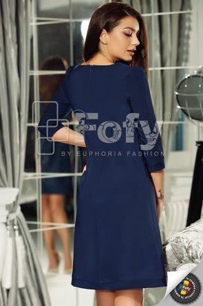 Rochie bleumarin cu croi în A și fundă decorativă