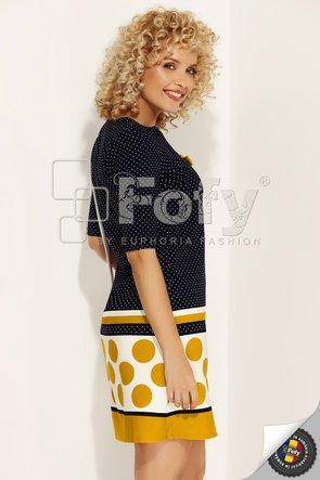 Rochie bleumarin cu dungi și buline galbene