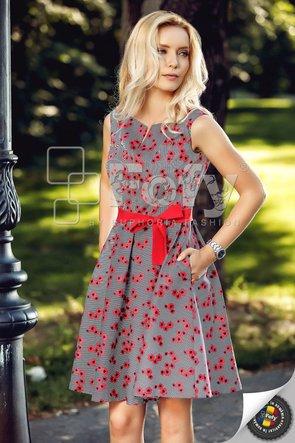 Rochie casual amplă cu print floral roșu și cordon