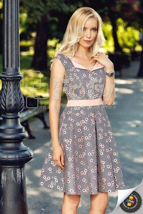 Rochie casual amplă cu print floral somon și cordon