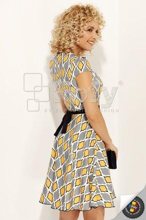 Rochie Fofy cloș  cu imprimeu marocan gri cu galben