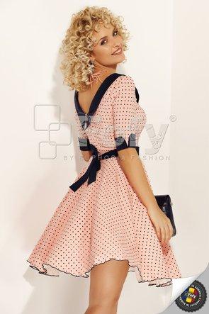 Rochie cloș roz cu buline mici bleumarin