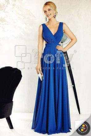 Rochie de ocazie albastră cu decupaje și decolteu adânc