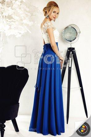 Rochie de ocazie albastră din broderie sofisticata 3D și voal elegant