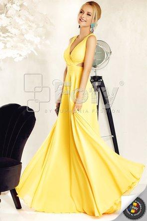 Rochie de ocazie galbenă cu decupaje și decolteu adânc