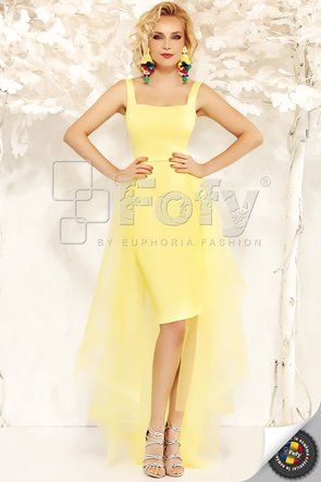 Rochie de ocazie galbenă mulată cu trenă detașabilă
