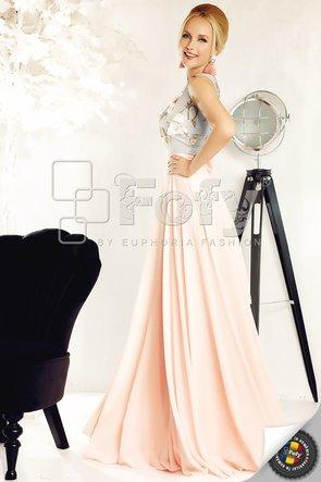 Rochie de ocazie lungă din voal roz și broderie 3D