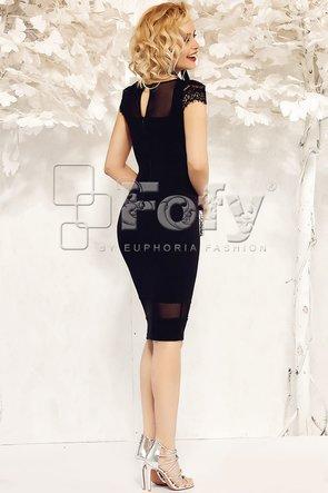 Rochie de ocazie mulată neagră cu detalii transparente