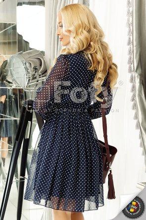 Rochie din voal bleumarin cu buline ecru