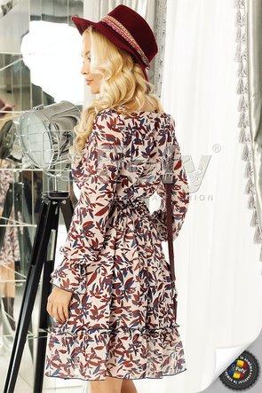 Rochie din voal cu imprimeu tomnatic