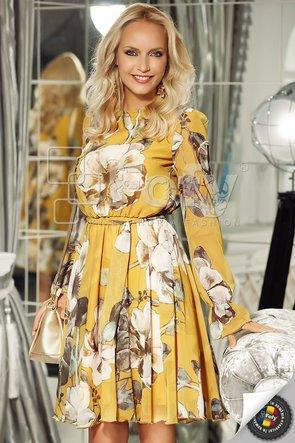 Rochie din voal galben cu flori maxi