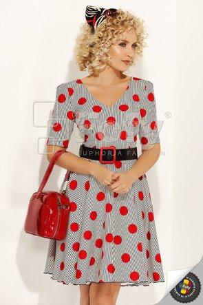 Rochie ecru cu dungi negre și buline roșii
