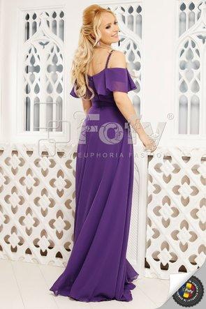 Rochie elegantă din voal mov cu umeri căzuți