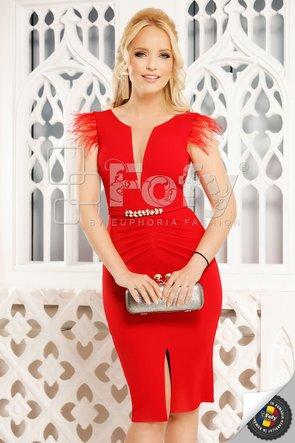 Rochie elegantă roșie cu decolteu adânc și fulgi