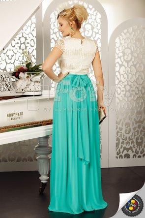 Rochie elegantă turquoise cu bust ecru din dantelă 3D