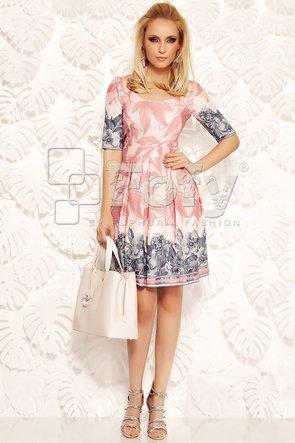 Rochie feminină roz cu mix de imprimeuri florale