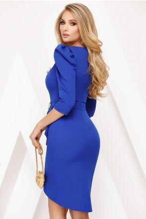 Rochie Fofy albastru royal cu detalii elaborate