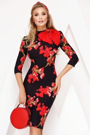 Rochie Fofy cu flori roșii si esarfa