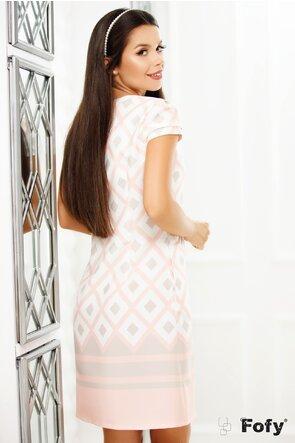 Rochie Fofy cu imprimeu geometric roz pastel si crem