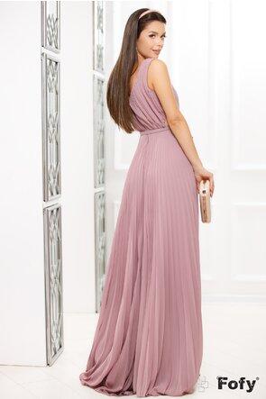 Rochie Fofy lunga plisata de ocazie roz pudrat cu decolteu adanc