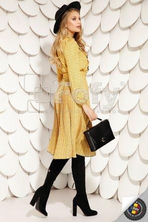 Rochie galbenă din voal plisat cu jabou
