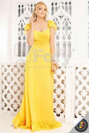 Rochie galbenă elegantă cu bust cu fronseuri