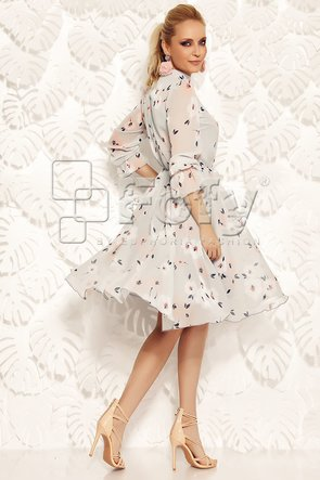 Rochie gri diafană cu imprimeu floral discret