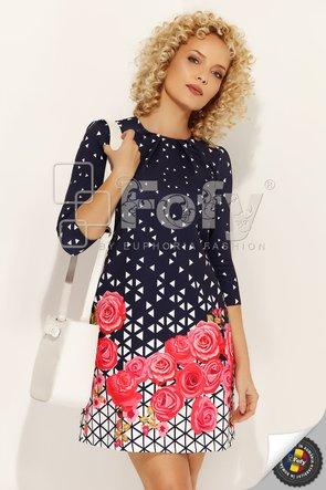 Rochie în A cu print geometric și floral roșu