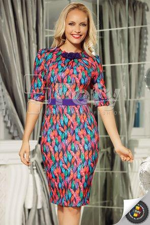 Rochie mulată cu print digital multicolor