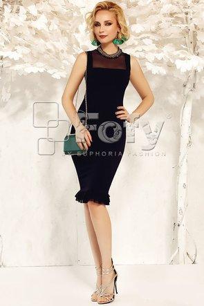 Rochie mulată neagră cu volanașe și colier inclus