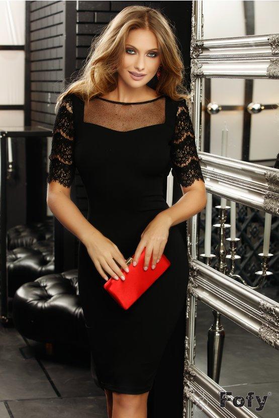 Rochie neagră conică cu mânecă din dantelă